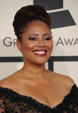 Lalah Hathaway arrives on the red carpet for the 57th annual Grammy Awards in Los Angeles Feb. 8, 2015.  VALERIE MACON/AFP/Getty Images