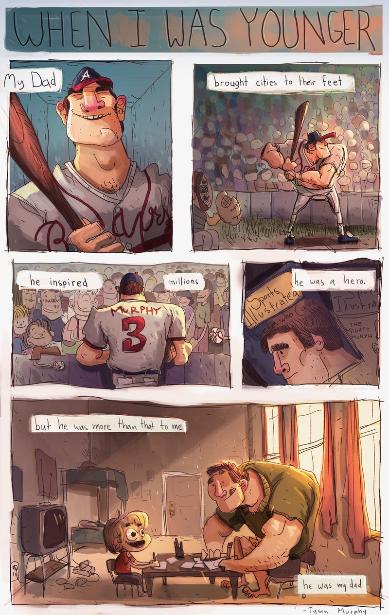 Illustration for article titled Dale Murphy's Son Drew His Dad This Heartwarming Cartoon