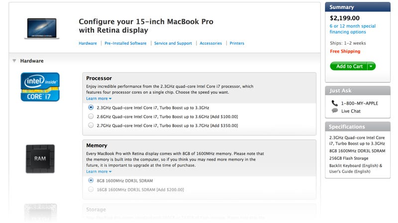 Illustration for article titled You Can Now Configure Your MacBook Pro Retina In Any Way You Want
