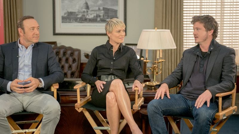 Kevin Spacey (left), Robin Wright, Beau Willimon