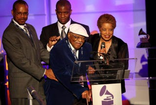 Clark Terry and his family accept an award during the 52nd annual Grammy Awards Special Merit Awards at the Wilshire Ebell Theater on Jan. 30, 2010, in Los Angeles. Frederick M. Brown/Getty Images