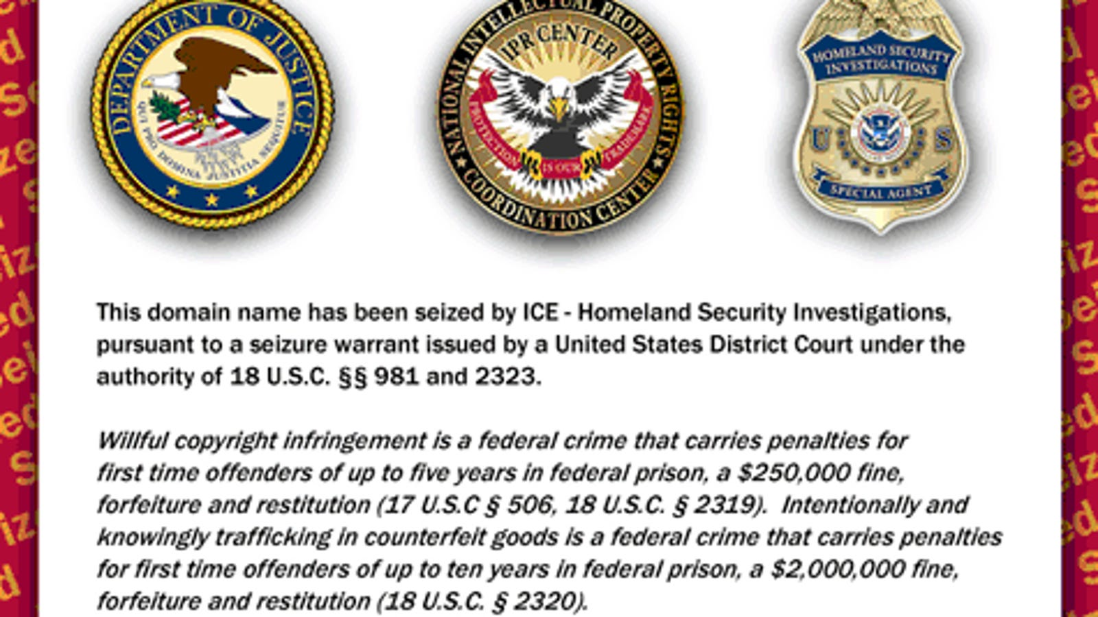 Department of Homeland Security Seizes Over 70 Alleged Piracy Sites