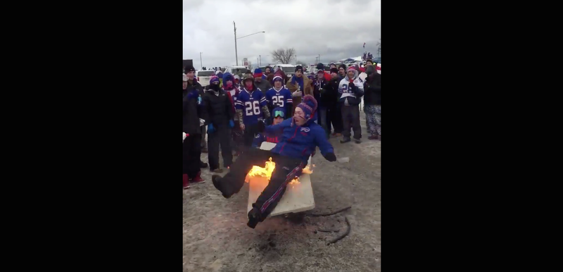 Illustration for article titled Bills Fan Sets Himself On Fire
