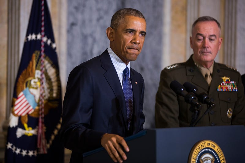 President Barack Obama speaks on the Orlando, Fla., mass shooting while Chairman of the Joint Chiefs of Staff Gen. Joseph Dunford looks on in Washington, D.C., on June 14, 2016.Jim Lo Scalzo-Pool/Getty Images