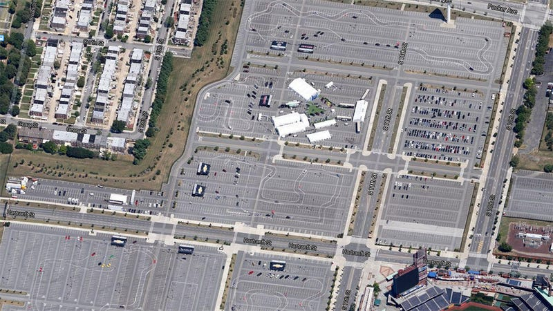 Illustration for article titled Looks like GM drew out tracks on the parking lots around CBP...