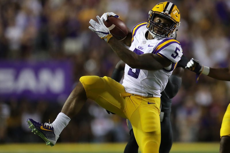 Derrius Guice of the LSU Tigers runs for a first down against the Missouri Tigers at Tiger Stadium on Oct. 1, 2016, in Baton Rouge, La.