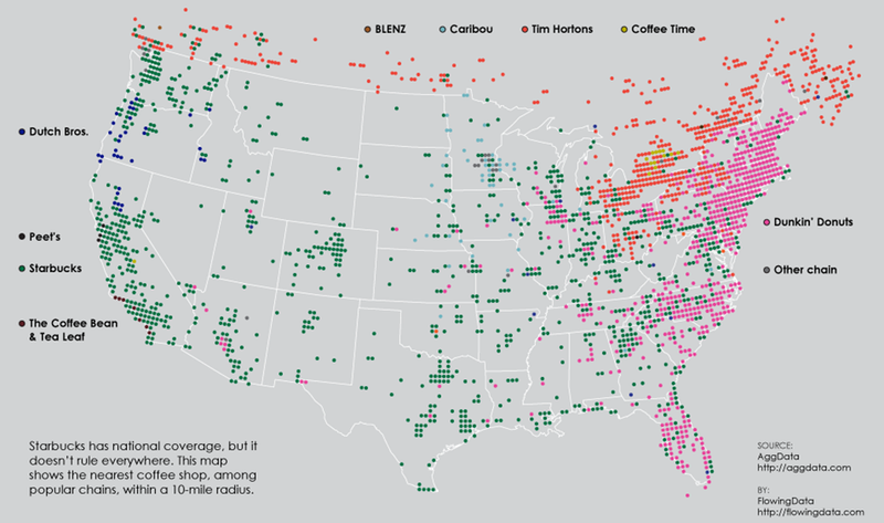 The United States Of Coffee Chains - Map of the east coast states
