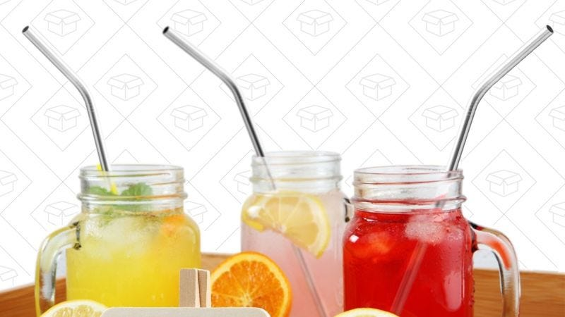 4-Pack Bent Stainless Steel Drinking Straws, $5 | 4-Pack Straight Stainless Steel Drinking Straws, $6