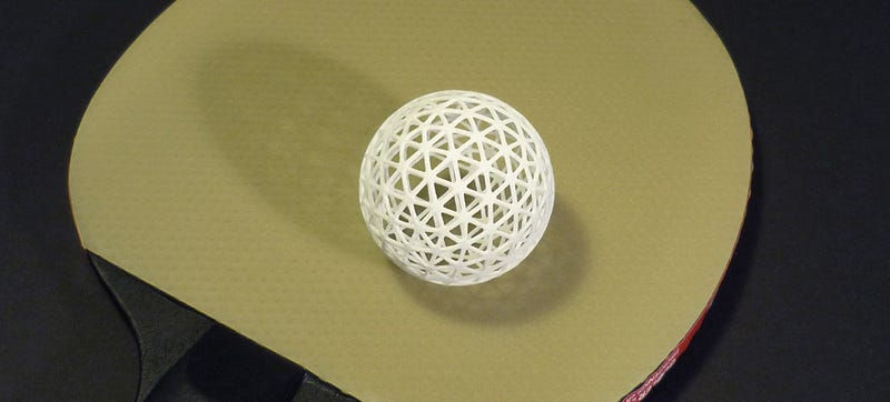 Illustration for article titled A 3D-Printed Squeezable Ping-Pong Ball That Won't Dent