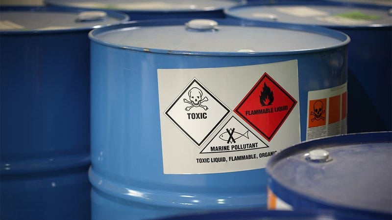 A bin of hazardous chemicals.