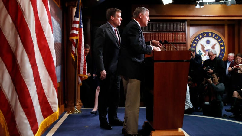 Chairman of the Senate Intelligence Committee Sen. Richard Burr, R-N.C., and Vice Chairman Sen. Mark Warner, D-Va., left, preview of the committee's findings on Russia's hacks of state election systems on March 20, 2018