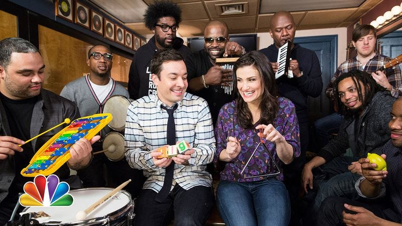 """Illustration for article titled Idina Menzel, Jimmy Fallon, and The Roots played """"Let It Go"""" using classroom instruments"""