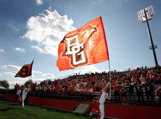 Bowling Green State University cheerleaders hype up a crowd during a football game. YouTube screenshot