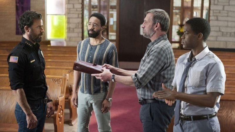 Justin Theroux, Kevin Carroll, Christopher Eccleston, and Jovan Adepo (Photo: HBO)