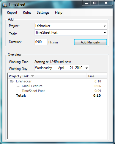 Illustration for article titled TimeSheet Automatically Tracks Your Time Spent Working