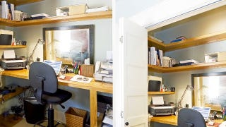 closet office. closet offices are great because they stay out of your way and still provide you with a nice, organized workspace. the main disadvantage, obviously, office n