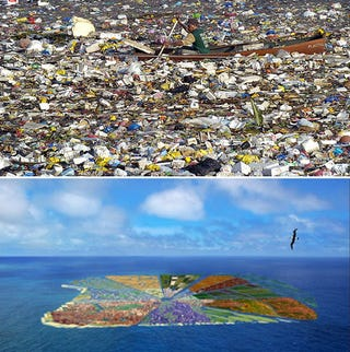 Illustration for article titled Can we turn garbage island into an eco-paradise?
