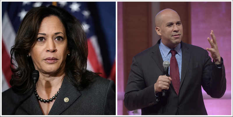 Sen. Kamala Harris (Chip Somodevilla/Getty Images); Sen. Cory Booker (Ben Gabbe/Getty Images for Glamour)