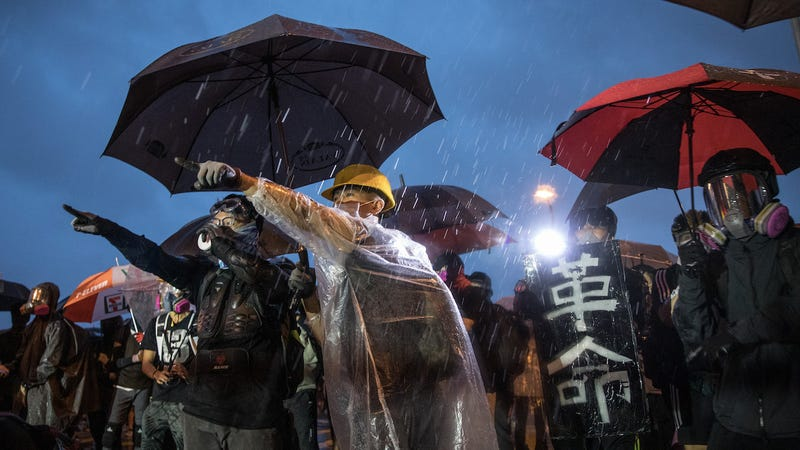 Protesters face off with police outside the Legislative Council Building after a school boycott rally in Central district on September 2, 2019