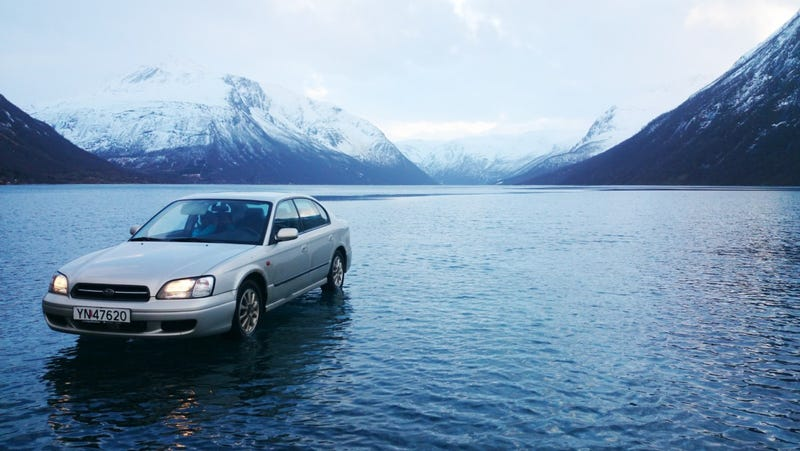 Illustration for article titled This Subaru Driving On Water Is Not A Photoshop