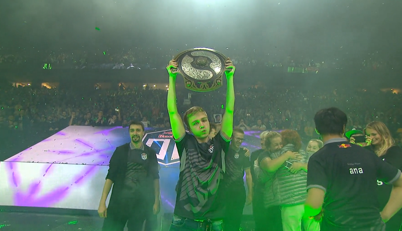 """Johan """"N0tail"""" Sundstein lifting the Aegis, Dota 2's biggest trophy, after overcoming a series of relentless matches few thought they could win."""
