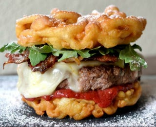 Illustration for article titled Someone Made a Funnel Cake Bacon Cheeseburger and I Just Died Inside
