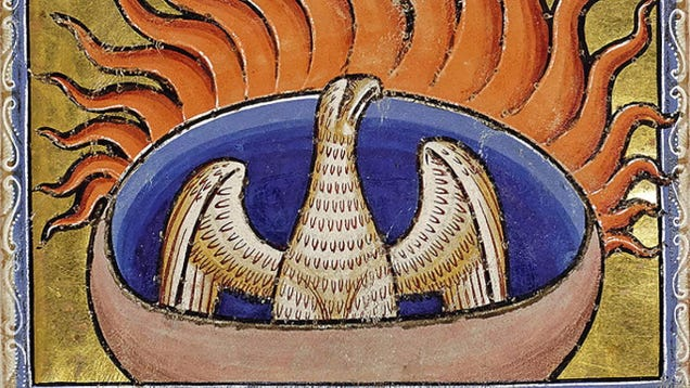 A phoenix as shown in the 12th-century Aberdeen Bestiary.