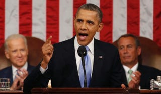 President Barack Obama delivers his State of the Union address on Capitol Hill Jan. 28, 2014, in Washington, D.C. In his 2015 State of the Union, Obama is expected to emphasize an agenda that focuses on the middle class.Larry Downing-Pool/Getty Images