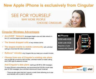 Illustration for article titled $399 iPhone Rumor: Cingular's Rate Plans Leaked? (LOL)