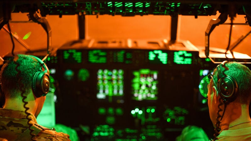 The cockpit of a U.S. Air Force C-130 at Camp Lemonnier, Djibouti.