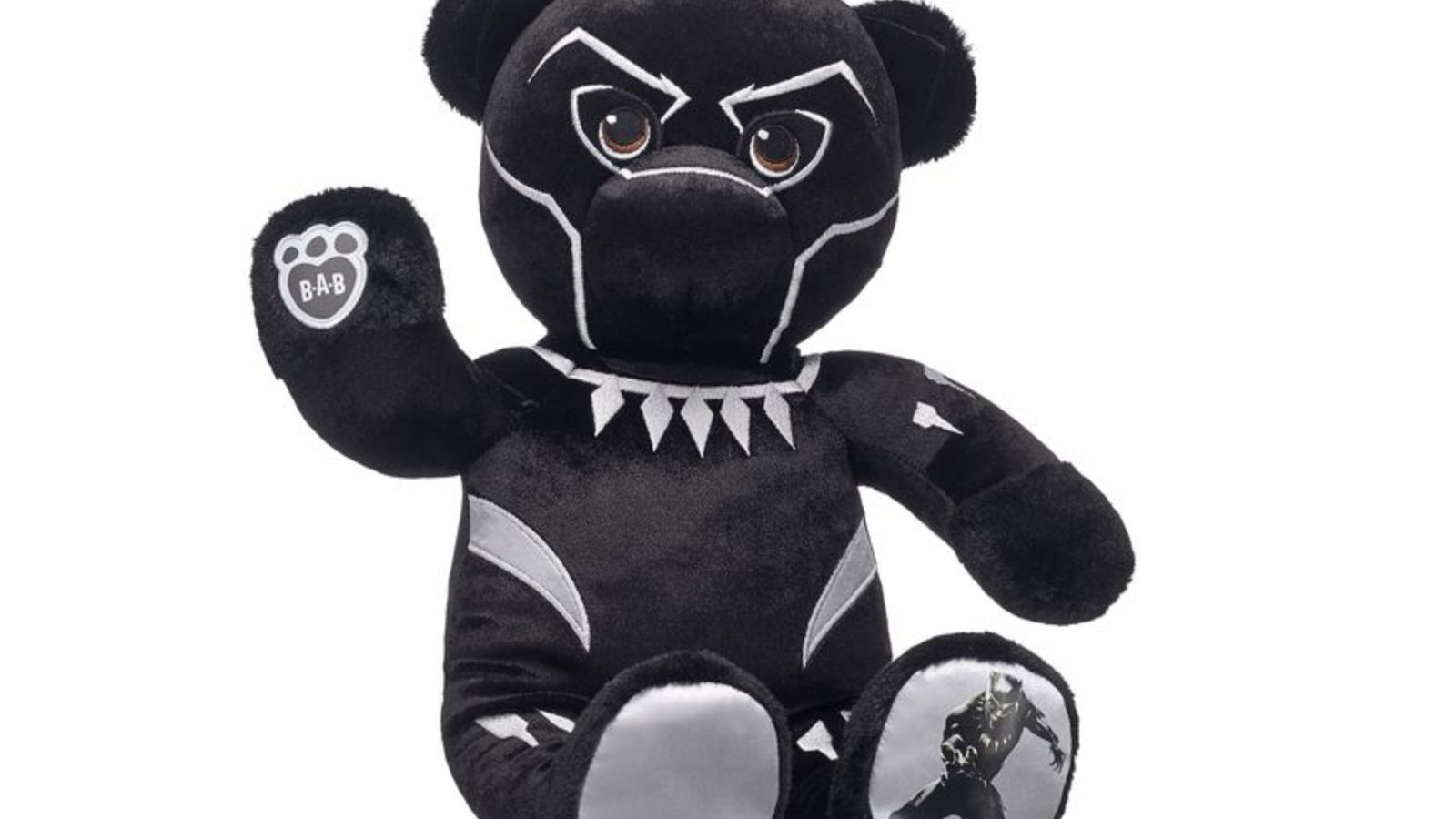 build a bear steals our hearts with the black panther teddy. Black Bedroom Furniture Sets. Home Design Ideas