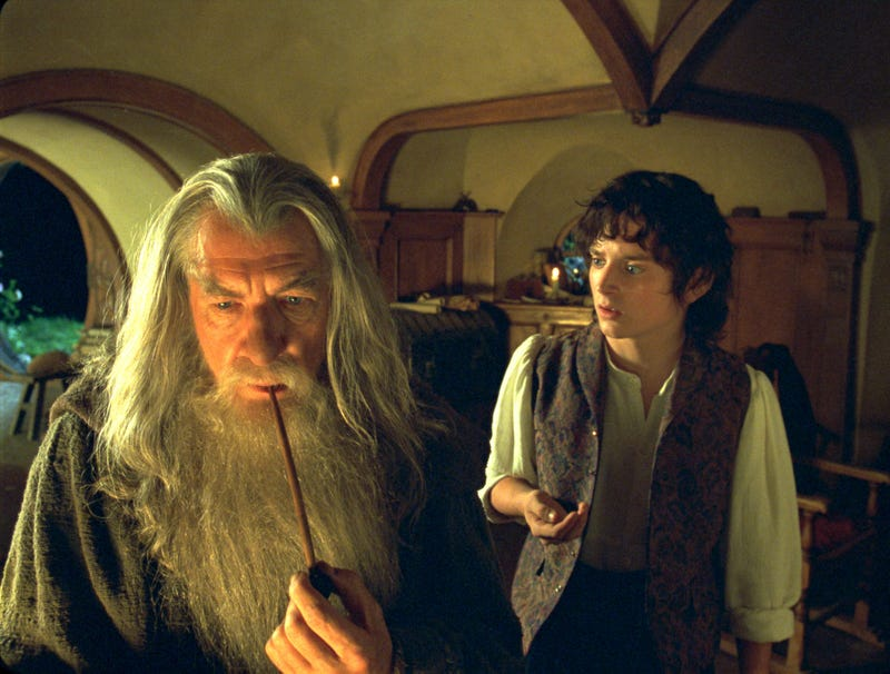 Ian McKellen (left) as Gandalf and Elijah Wood as Frodo in 2001's The Lord Of The Rings: The Fellowship Of The Ring (Photo: New Line/WireImage)
