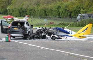 Illustration for article titled Small Plane Crashes Into SUV During British Drag Race
