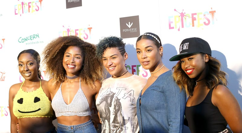 Ashly Williams, Brienna DeVlugt, Gabby Carreiro, Kristal Lyndriette and Shyann Roberts of June's Diary arrive at the 2nd Annual Epic Fest held at Sony Pictures Studios on June 25, 2016, in Culver City, Calif. Michael Tran/FilmMagic