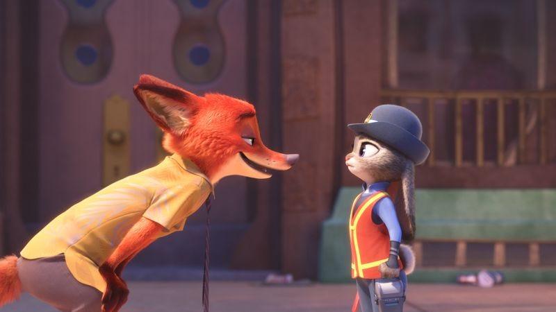 Nick Wilde (Jason Bateman) and Judy Hopps (Ginnifer Goodwin) face off in Disney's Zootopia. (Photo: Walt Disney Pictures)