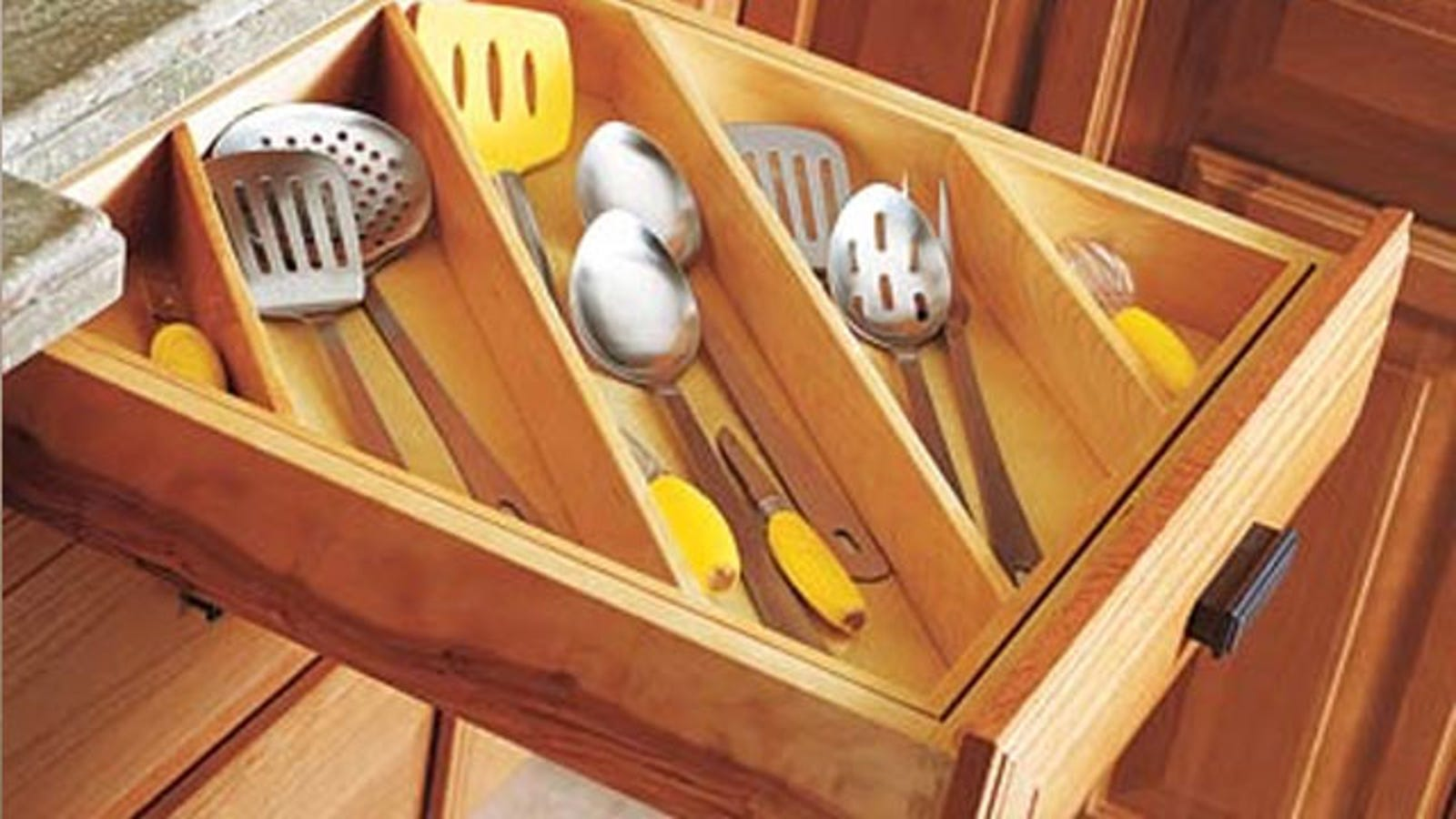 maximize kitchen drawer spacestoring utensils diagonally