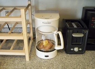 Illustration for article titled MacGyver Chef: Poached Chicken and Couscous in a Coffee Maker