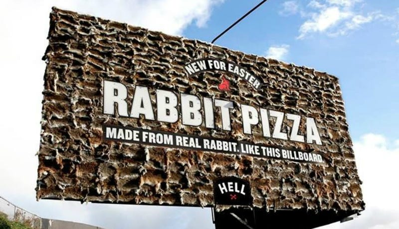 Illustration for article titled New Zealand Pizza Chain Covers Billboard in Rabbit Pelts
