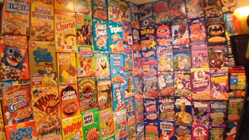 Screenshot: Cereal Box Wall | Cereal Time (YouTube)