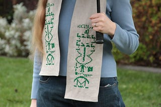 Illustration for article titled Project Of The Day: Embroider Your Own SETI Scarf