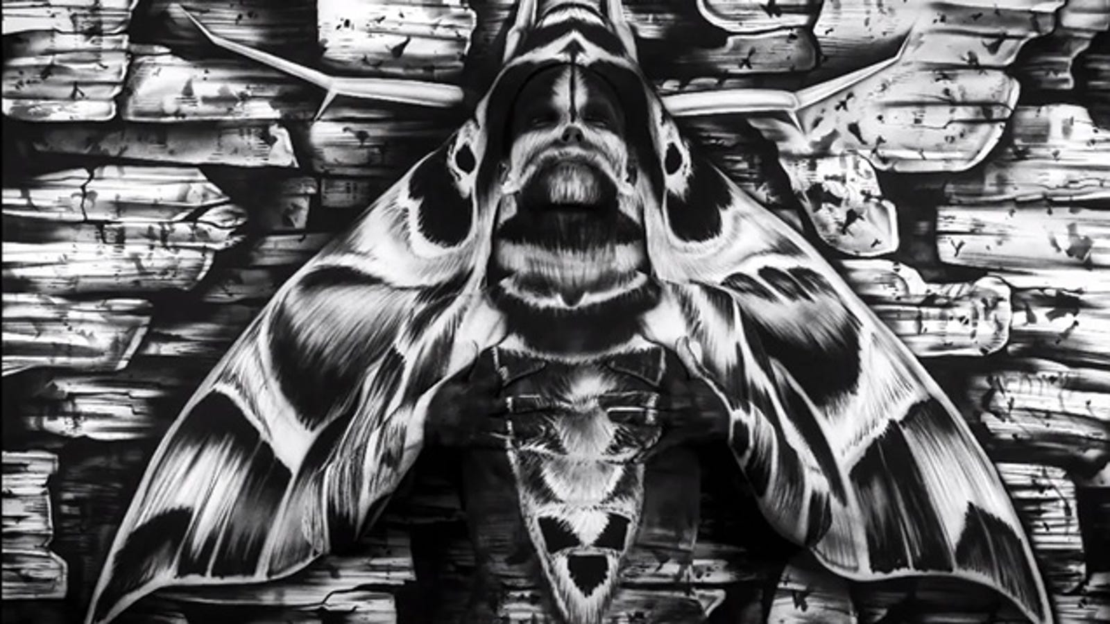 There's a woman in bodypaint hidden in this moth