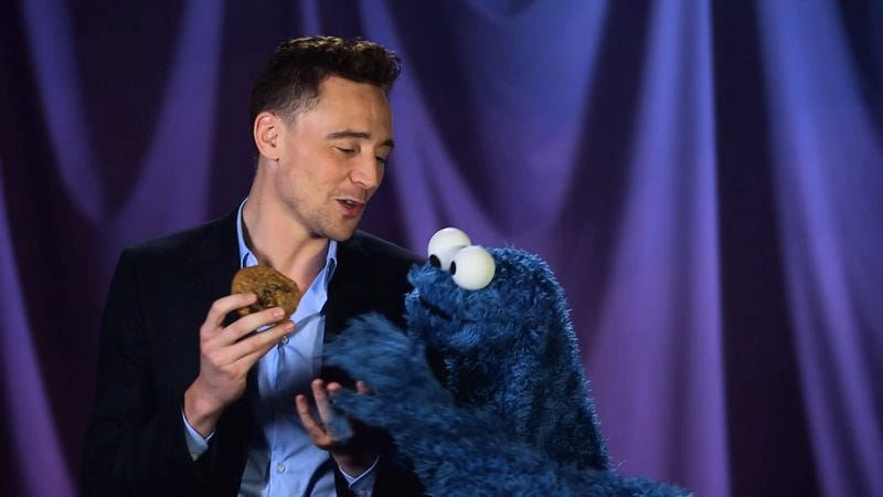 This video of Tom Hiddleston teaching Cookie Monster about delayed gratification is oddly sexual