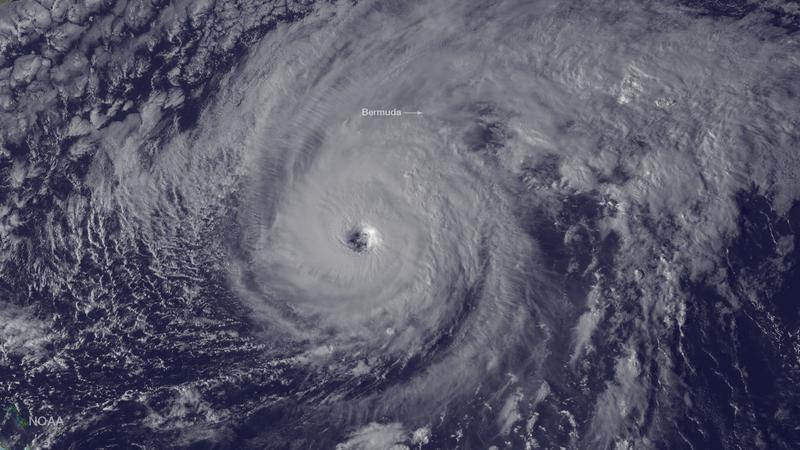 Hurricane Nicole, about 270 miles southwest of Bermuda in this image captured by the GOES East satellite last night. Image: NOAA