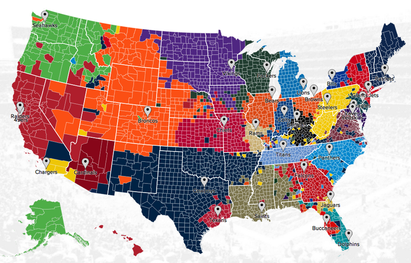 Illustration for article titled The NFL Fandom Map Of America, According To Twitter