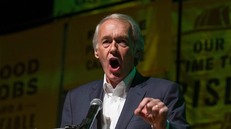 Sen. Ed Markey, D-Mass., addresses The Road to the Green New Deal Tour final event at Howard University in Washington, Monday, May 13, 2019.