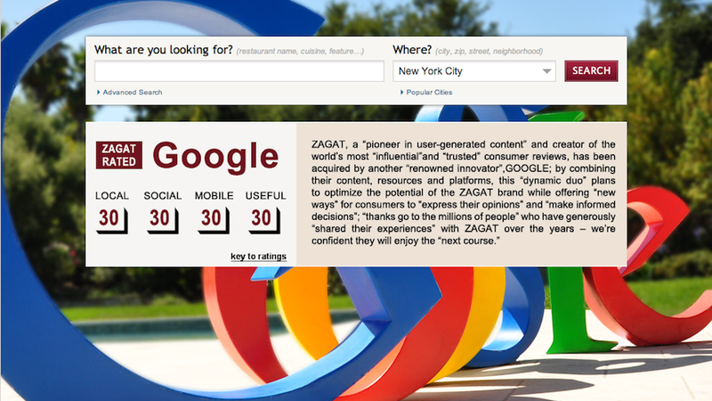 Illustration for article titled Google Just Bought Zagat, Making It the New King of Restaurant Ratings