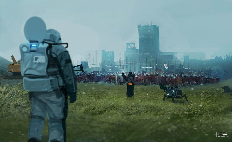 Illustration for article titled Concept Art Writing Prompt: A Clash Of Future And Past