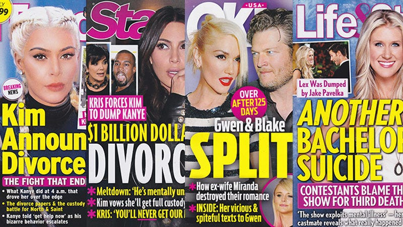 Illustration for article titled This Week In Tabloids: Kim Is Leaving Kanye, Gwen Is Leaving Blake, and I'm Leaving Earth