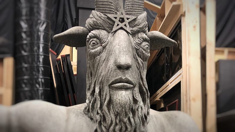 The (foam) statue of Lord Satan that graces the Academy of Unseen Arts. Hail Satan.