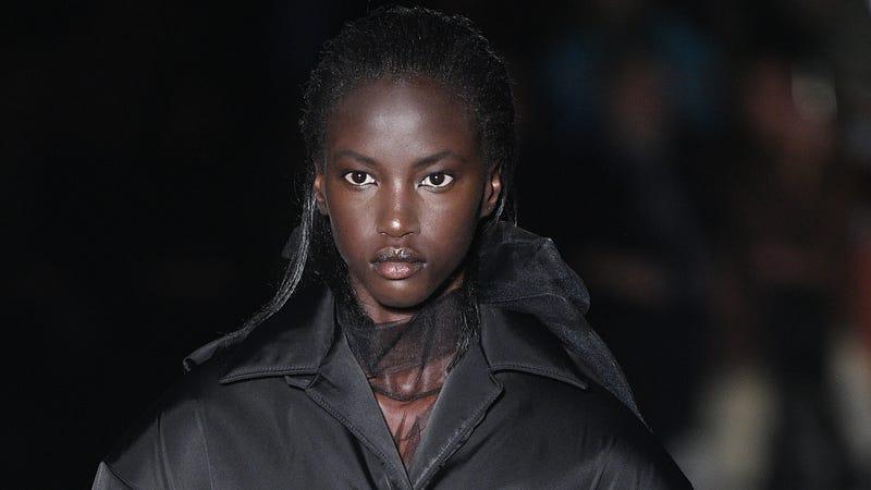 Anok Yai walks the runway at the Prada show during Milan Fashion Week Fall/Winter 2018/19 on February 22, 2018 in Milan, Italy.